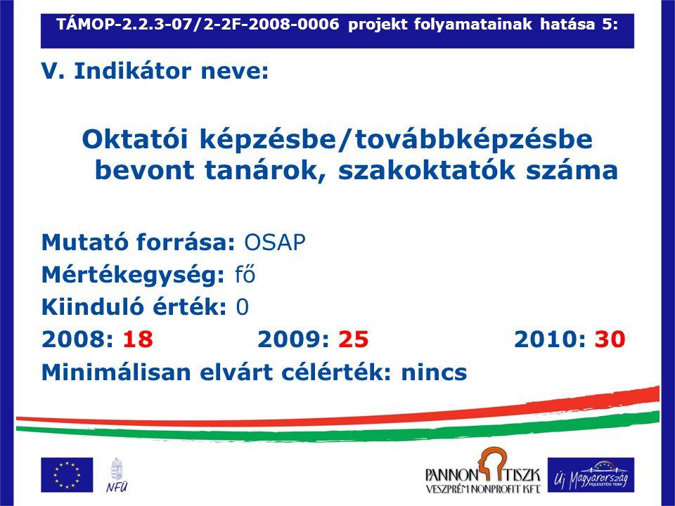 TÁMOP-2.2.3-07/2-2F-2008-0006 projekt folyamatainak hatása 5: V.