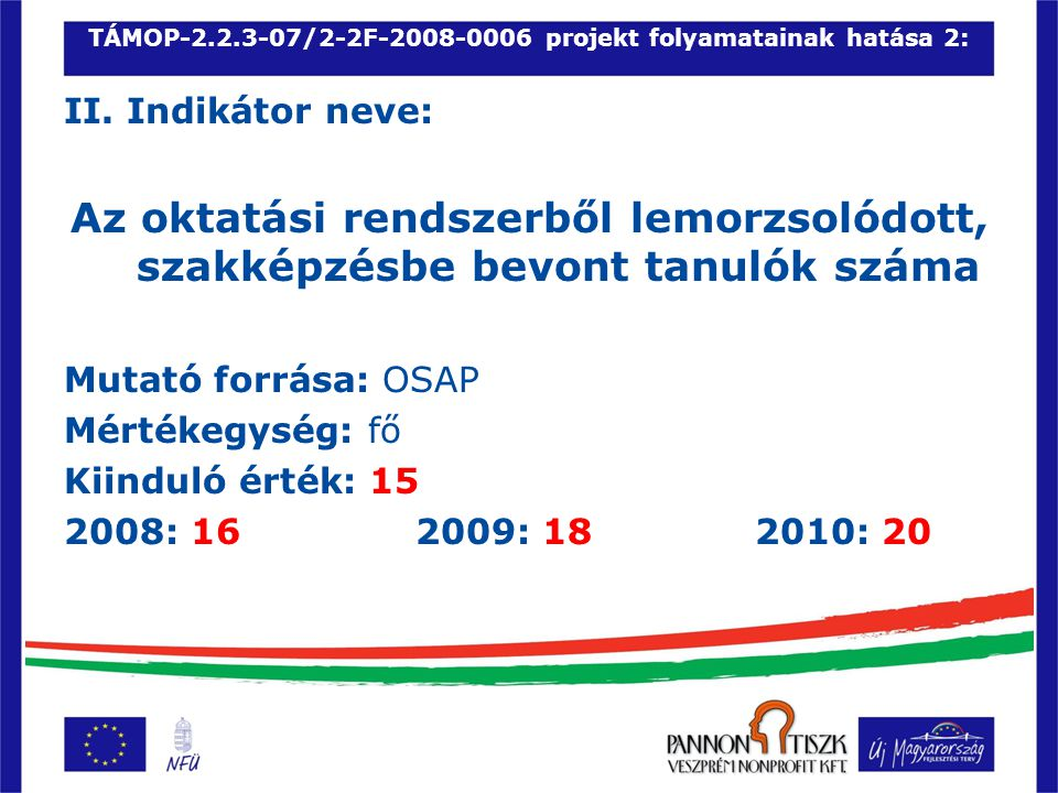 TÁMOP-2.2.3-07/2-2F-2008-0006 projekt folyamatainak hatása11: XI.