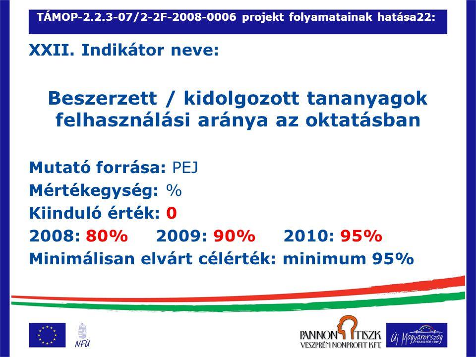 TÁMOP-2.2.3-07/2-2F-2008-0006 projekt folyamatainak hatása22: XXII.