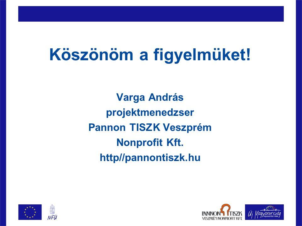 Köszönöm a figyelmüket. Varga András projektmenedzser Pannon TISZK Veszprém Nonprofit Kft.
