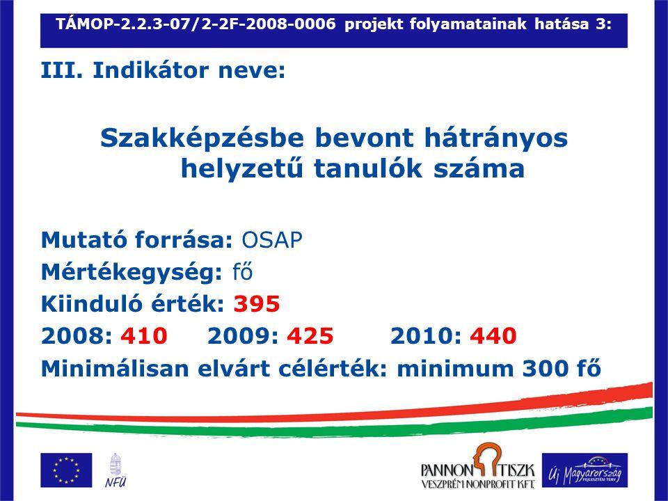 TÁMOP-2.2.3-07/2-2F-2008-0006 projekt folyamatainak hatása 3: III.