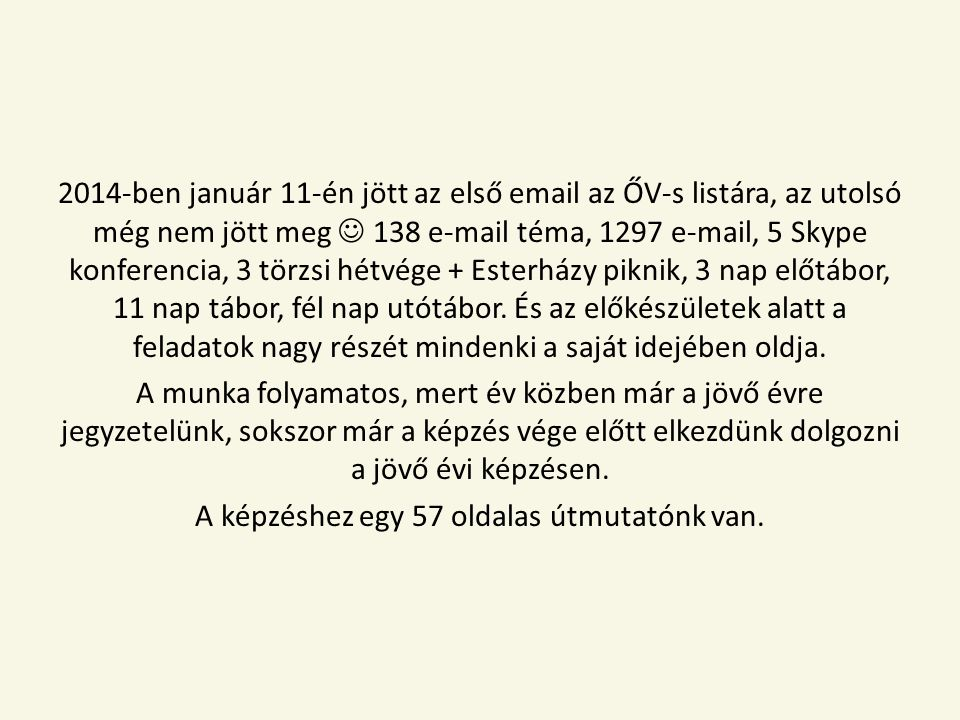 2014-ben január 11-én jött az első email az ŐV-s listára, az utolsó még nem jött meg 138 e-mail téma, 1297 e-mail, 5 Skype konferencia, 3 törzsi hétvége + Esterházy piknik, 3 nap előtábor, 11 nap tábor, fél nap utótábor.