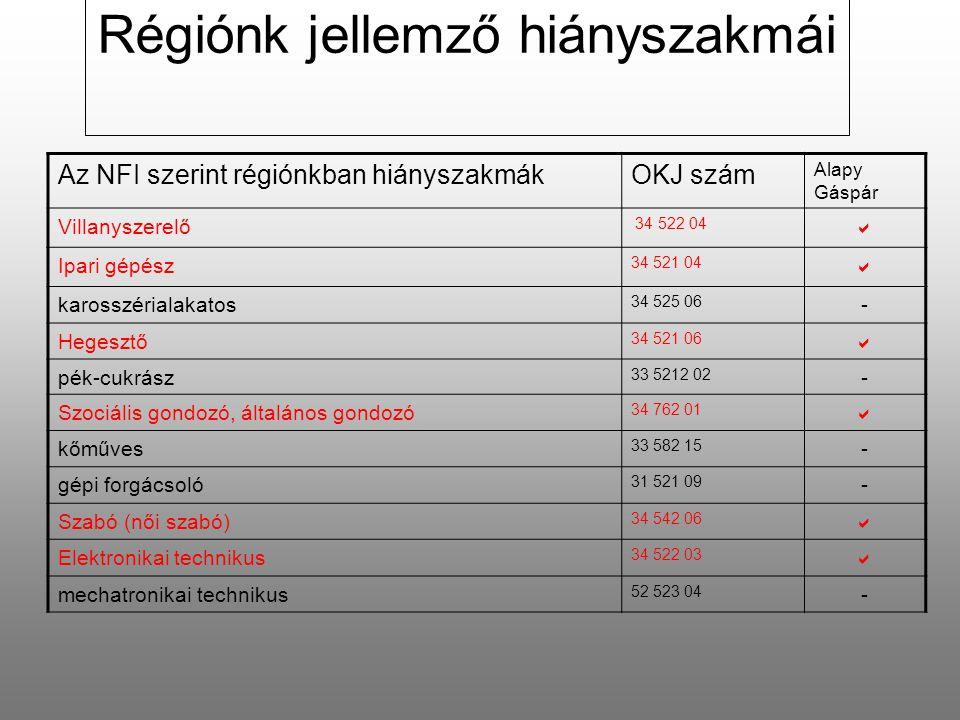 Az NFI szerint régiónkban hiányszakmákOKJ szám Alapy Gáspár Villanyszerelő 34 522 04  Ipari gépész 34 521 04  karosszérialakatos 34 525 06 - Hegesztő 34 521 06  pék-cukrász 33 5212 02 - Szociális gondozó, általános gondozó 34 762 01  kőműves 33 582 15 - gépi forgácsoló 31 521 09 - Szabó (női szabó) 34 542 06  Elektronikai technikus 34 522 03  mechatronikai technikus 52 523 04 - Régiónk jellemző hiányszakmái