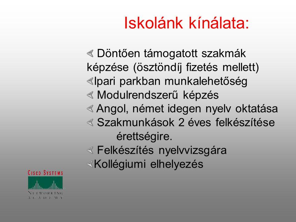 Iskolánk kínálata: Döntően támogatott szakmák képzése (ösztöndíj fizetés mellett) Ipari parkban munkalehetőség Modulrendszerű képzés Angol, német ideg