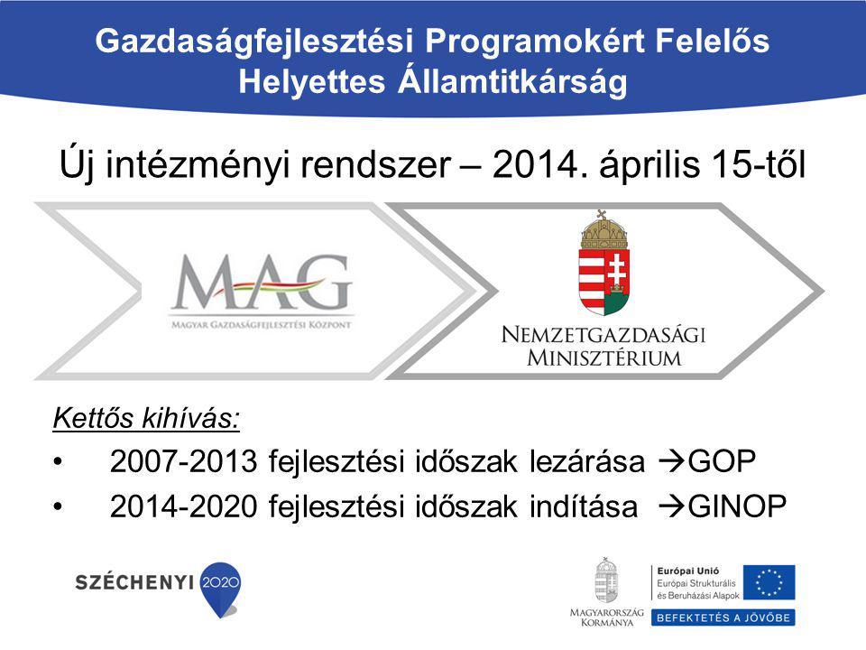 Gazdaságfejlesztési Programokért Felelős Helyettes Államtitkárság Új intézményi rendszer – 2014. április 15-től Kettős kihívás: 2007-2013 fejlesztési