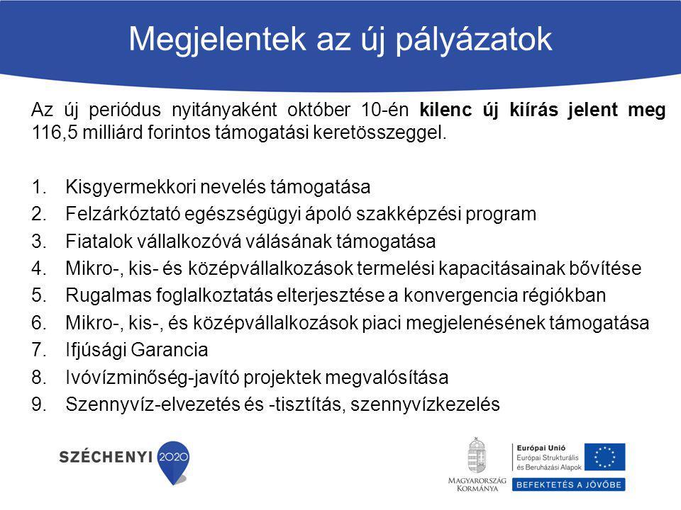 Megjelentek az új pályázatok Ebből 5 GINOP: Ifjúsági Garancia Fiatalok vállalkozóvá válásának támogatása Munka és magánélet összehangolásának elősegítése érdekében → Rugalmas foglalkoztatás elterjesztése a konvergencia régiókban Mikro-, kis- és középvállalkozások termelési kapacitásainak bővítése érdekében → KKV-k termelési kapacitásainak bővítése Mikro-, kis-, és középvállalkozások piaci megjelenésének támogatása érdekében → KKV-k piaci megjelenésének támogatása Felhívásokkal kapcsolatos közlemények elérhetősége: www.szechenyi2020.hu