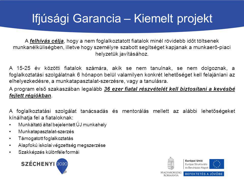 Ifjúsági Garancia – Kiemelt projekt A felhívás célja, hogy a nem foglalkoztatott fiatalok minél rövidebb időt töltsenek munkanélküliségben, illetve ho