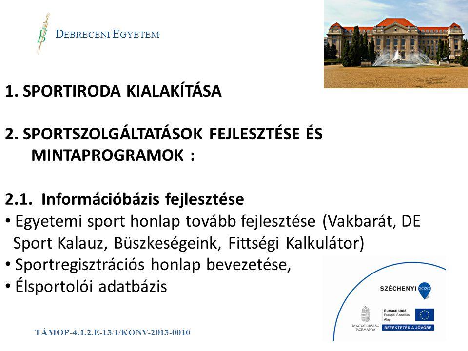 1. SPORTIRODA KIALAKÍTÁSA a D EBRECENI E GYETEM TÁMOP-4.1.2.E-13/1/KONV-2013-0010 2. SPORTSZOLGÁLTATÁSOK FEJLESZTÉSE ÉS MINTAPROGRAMOK : 2.1. Informác