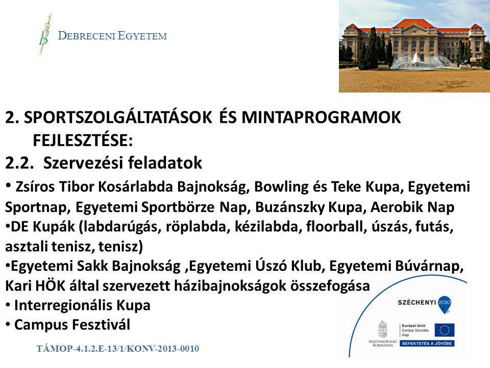 a D EBRECENI E GYETEM TÁMOP-4.1.2.E-13/1/KONV-2013-0010 2. SPORTSZOLGÁLTATÁSOK ÉS MINTAPROGRAMOK FEJLESZTÉSE: 2.2. Szervezési feladatok Zsíros Tibor K