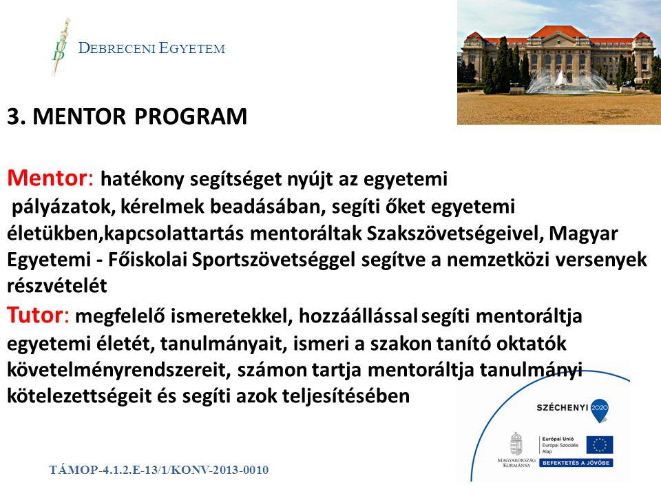a D EBRECENI E GYETEM TÁMOP-4.1.2.E-13/1/KONV-2013-0010 3. MENTOR PROGRAM Mentor: hatékony segítséget nyújt az egyetemi pályázatok, kérelmek beadásába