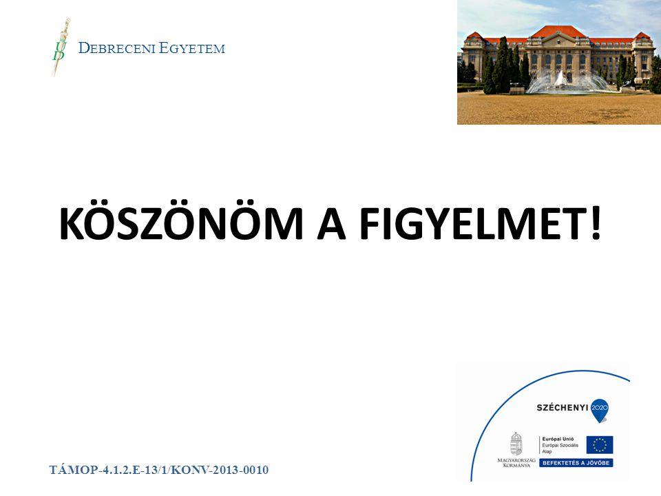 a D EBRECENI E GYETEM TÁMOP-4.1.2.E-13/1/KONV-2013-0010 KÖSZÖNÖM A FIGYELMET!