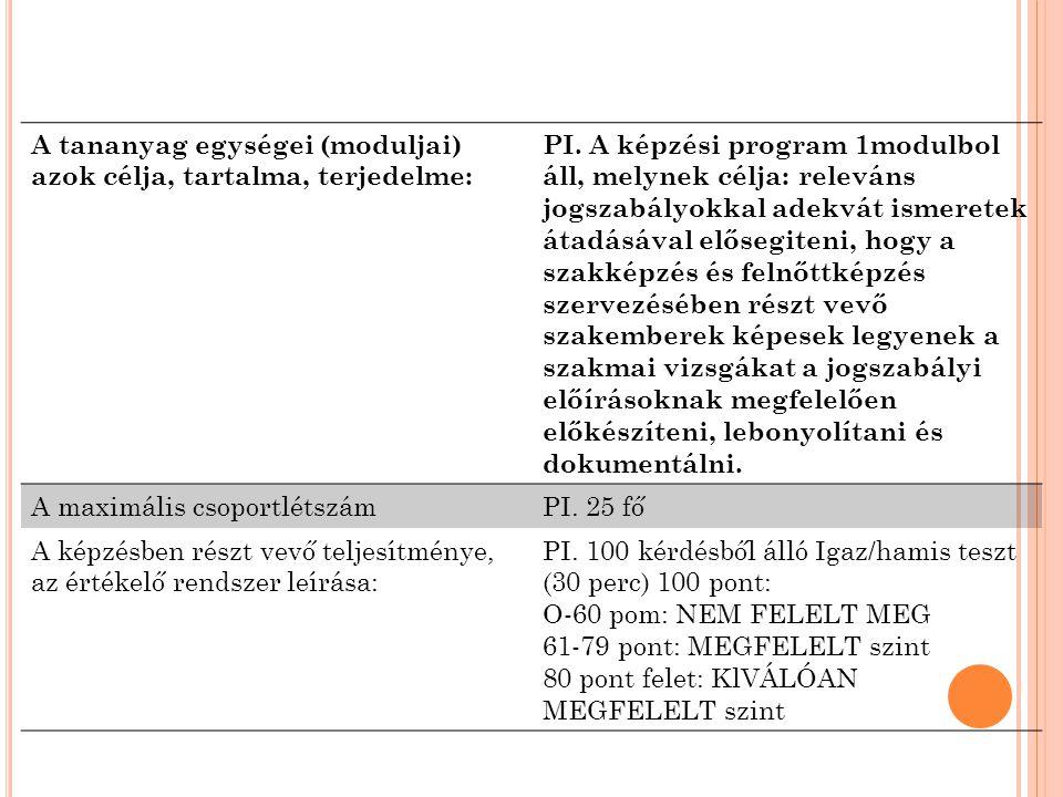 A tananyag egységei (moduljai) azok célja, tartalma, terjedelme: PI.
