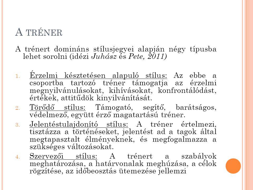 A TRÉNER A trénert domináns stílusjegyei alapján négy típusba lehet sorolni (idézi Juhász és Pete, 2011) 1.
