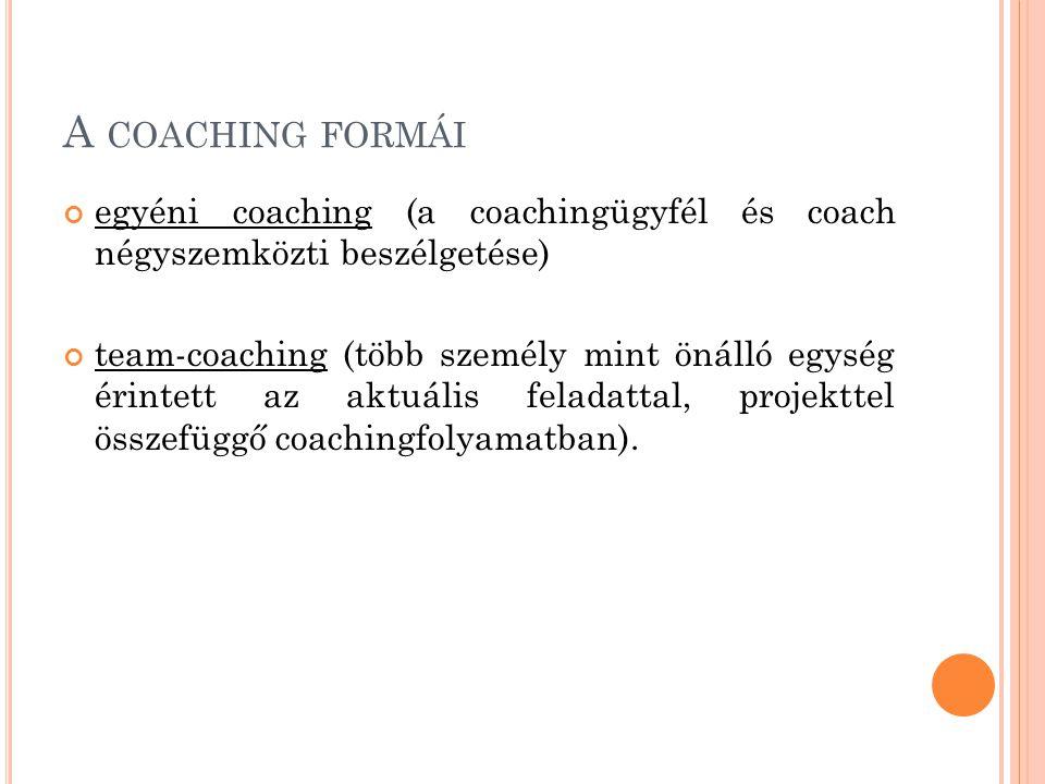 A COACHING FORMÁI egyéni coaching (a coachingügyfél és coach négyszemközti beszélgetése) team-coaching (több személy mint önálló egység érintett az aktuális feladattal, projekttel összefüggő coachingfolyamatban).