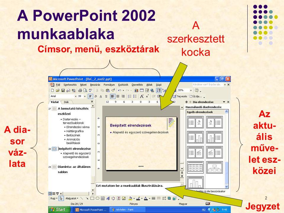 BGF KVIFK2 A PowerPoint 2002 munkaablaka A szerkesztett kocka Címsor, menü, eszköztárak A dia- sor váz- lata Az aktu- ális műve- let esz- közei Jegyze
