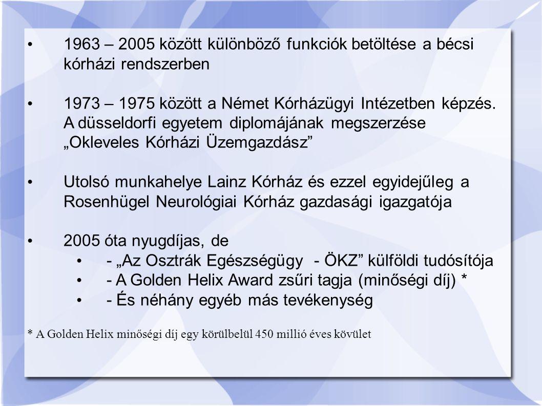1963 – 2005 között különböző funkciók betöltése a bécsi kórházi rendszerben 1973 – 1975 között a Német Kórházügyi Intézetben képzés.