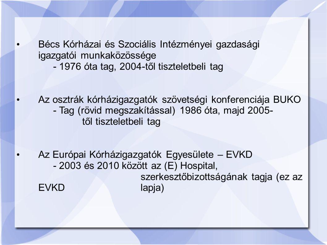Bécs Kórházai és Szociális Intézményei gazdasági igazgatói munkaközössége - 1976 óta tag, 2004-től tiszteletbeli tag Az osztrák kórházigazgatók szövetségi konferenciája BUKO - Tag (rövid megszakítással) 1986 óta, majd 2005- től tiszteletbeli tag Az Európai Kórházigazgatók Egyesülete – EVKD - 2003 és 2010 között az (E) Hospital, szerkesztőbizottságának tagja (ez az EVKD lapja)