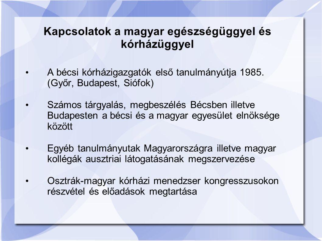 Kapcsolatok a magyar egészségüggyel és kórházüggyel A bécsi kórházigazgatók első tanulmányútja 1985.