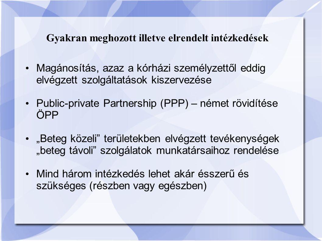 """Gyakran meghozott illetve elrendelt intézkedések Magánosítás, azaz a kórházi személyzettől eddig elvégzett szolgáltatások kiszervezése Public-private Partnership (PPP) – német rövidítése ÖPP """"Beteg közeli területekben elvégzett tevékenységek """"beteg távoli szolgálatok munkatársaihoz rendelése Mind három intézkedés lehet akár ésszerű és szükséges (részben vagy egészben)"""
