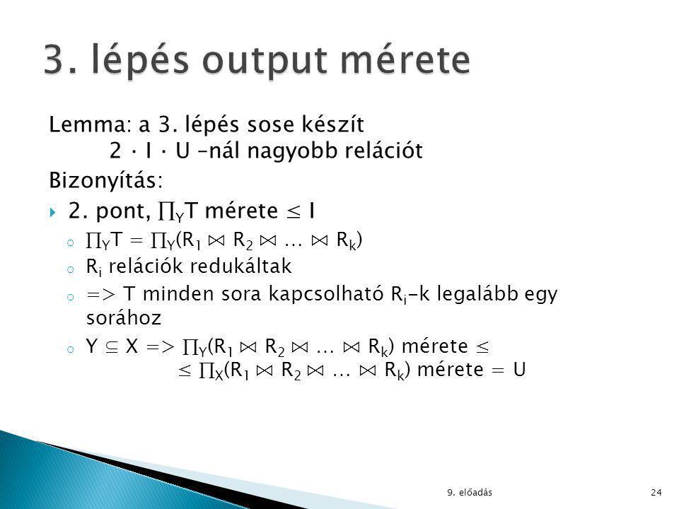 Lemma: a 3. lépés sose készít 2 ⋅ I ⋅ U –nál nagyobb relációt Bizonyítás:  2.