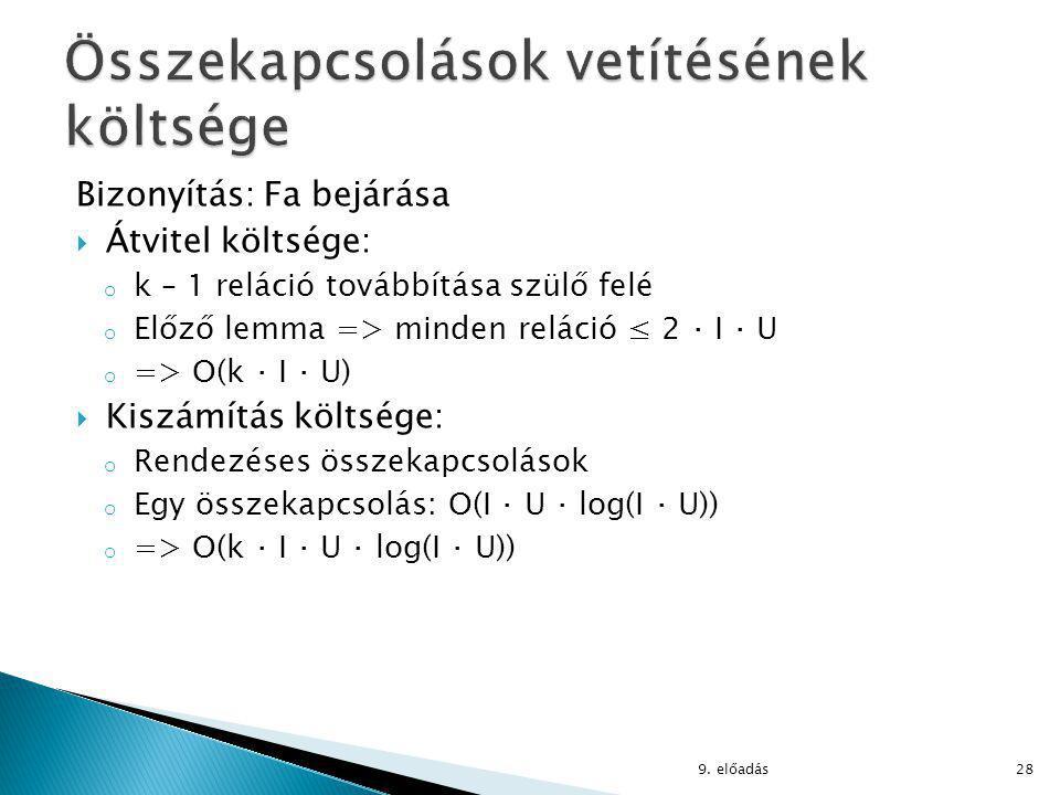 Bizonyítás: Fa bejárása  Átvitel költsége: o k – 1 reláció továbbítása szülő felé o Előző lemma => minden reláció ≤ 2 ⋅ I ⋅ U o => O(k ⋅ I ⋅ U)  Kiszámítás költsége: o Rendezéses összekapcsolások o Egy összekapcsolás: O(I ⋅ U ⋅ log(I ⋅ U)) o => O(k ⋅ I ⋅ U ⋅ log(I ⋅ U)) 9.