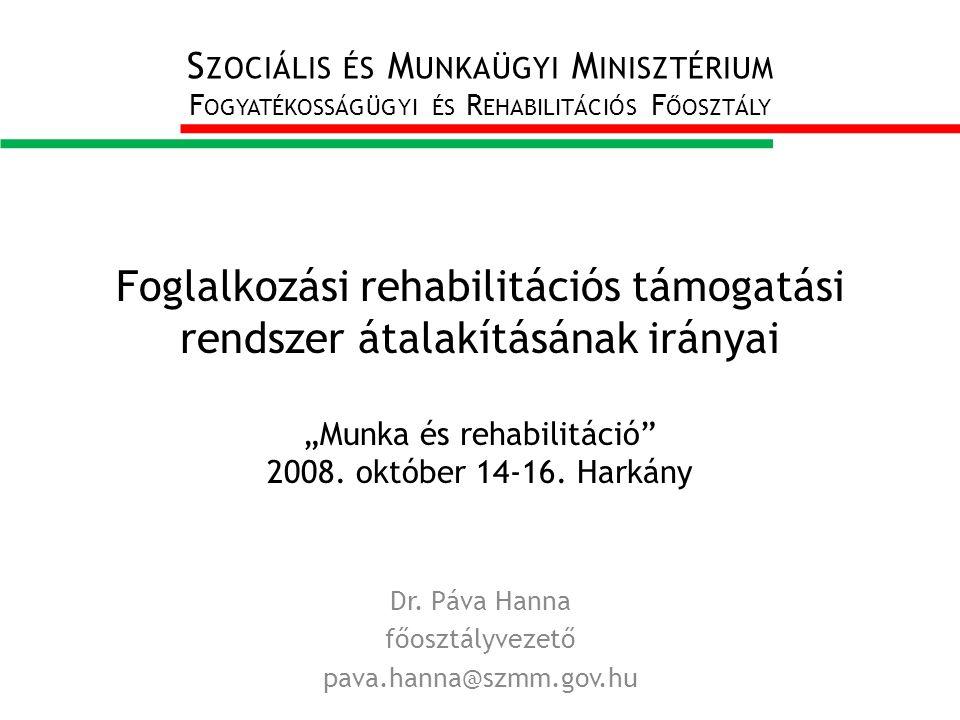 """Foglalkozási rehabilitációs támogatási rendszer átalakításának irányai """"Munka és rehabilitáció 2008."""