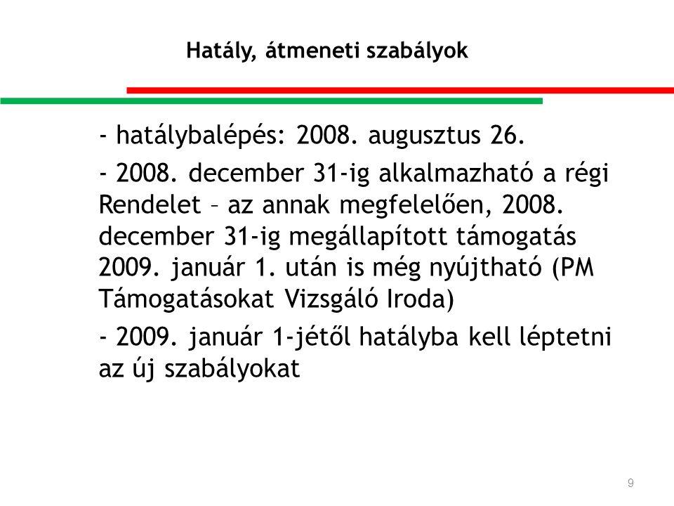Hatály, átmeneti szabályok - hatálybalépés: 2008. augusztus 26.