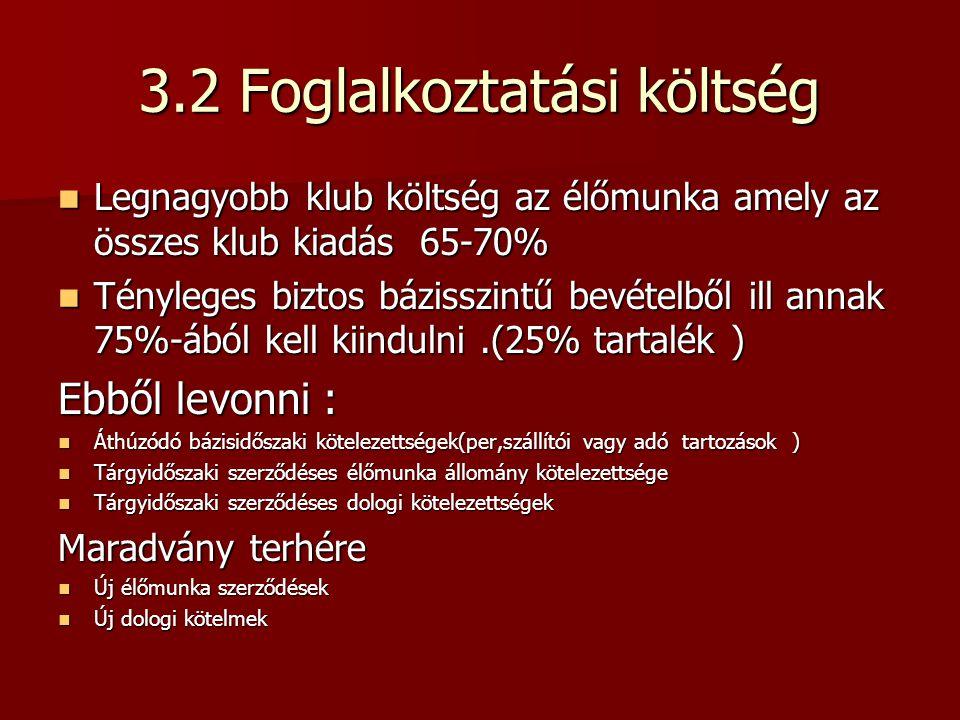 3.2 Foglalkoztatási költség Legnagyobb klub költség az élőmunka amely az összes klub kiadás 65-70% Legnagyobb klub költség az élőmunka amely az összes