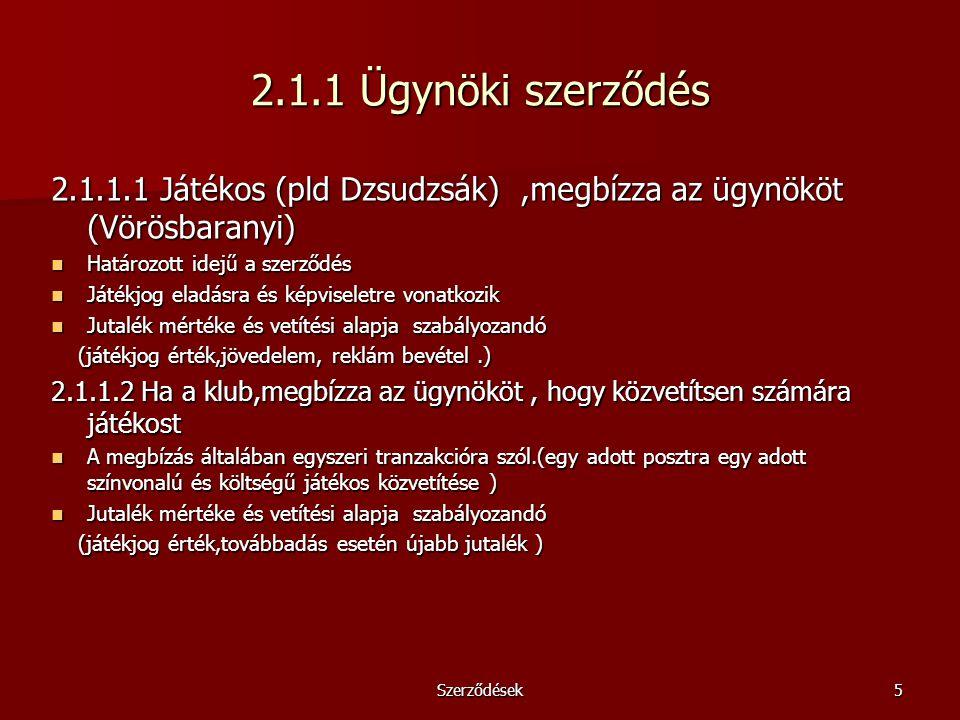 Szerződések5 2.1.1 Ügynöki szerződés 2.1.1.1 Játékos (pld Dzsudzsák),megbízza az ügynököt (Vörösbaranyi) Határozott idejű a szerződés Határozott idejű