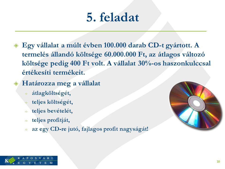 5.feladat  Egy vállalat a múlt évben 100.000 darab CD-t gyártott.