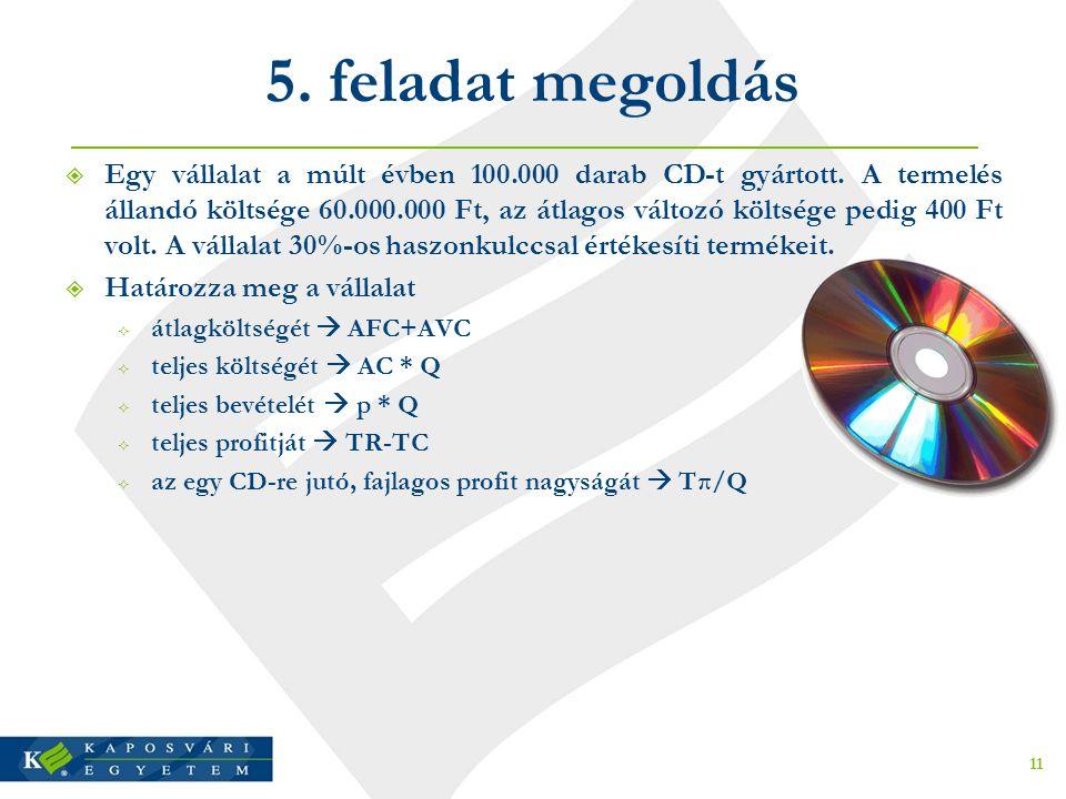 5.feladat megoldás  Egy vállalat a múlt évben 100.000 darab CD-t gyártott.