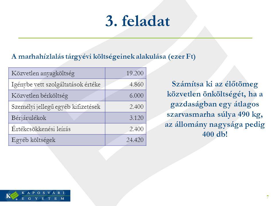3. feladat Közvetlen anyagköltség19.200 Igénybe vett szolgáltatások értéke4.860 Közvetlen bérköltség6.000 Személyi jellegű egyéb kifizetések2.400 Bérj