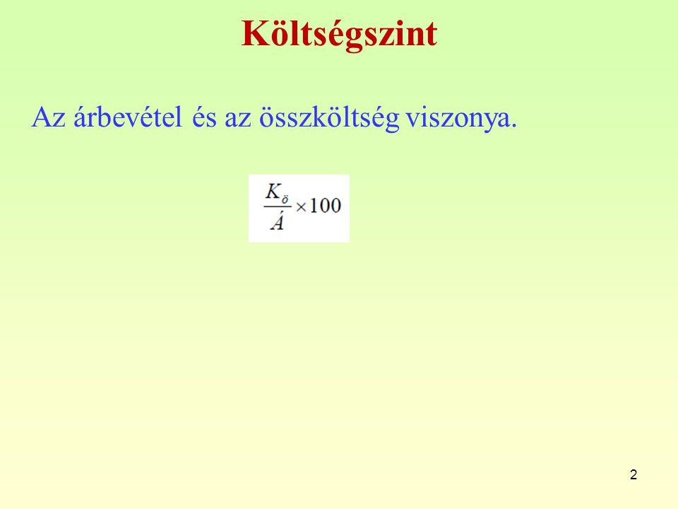 Jelölések a rugalmasságon alapuló költségelemzésnél r: reagálási fok K 0 : bázis költség K R : műszakilag-gazdaságilag indokolt költség V: a költségjellemző változását kifejező dinamikus viszonyszám, amelynek tartalma: –visszatekintő költségelemzésnél V= J 1 / J 0 –előretekintő költségtervezésnél V= J t1 / J 0 J 1 : költségjellemző értéke, visszatekintő költségelemzésnél a tárgyidőszaki költségjellemző, előretekintő költségtervezésnél a tervezett költségjellemző) v: a költségjellemző változásának az 1-től való eltérése=V-1 13