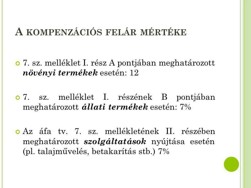 A KOMPENZÁCIÓS FELÁR MÉRTÉKE 7. sz. melléklet I. rész A pontjában meghatározott növényi termékek esetén: 12 7. sz. melléklet I. részének B pontjában m