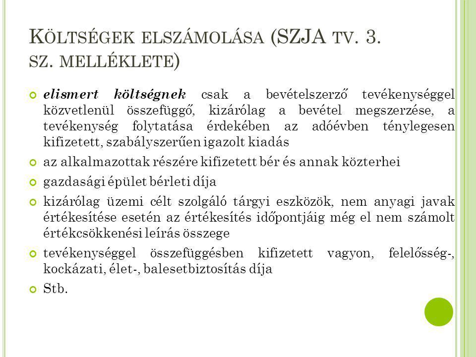 K ÖLTSÉGEK ELSZÁMOLÁSA (SZJA TV. 3. SZ. MELLÉKLETE ) elismert költségnek csak a bevételszerző tevékenységgel közvetlenül összefüggő, kizárólag a bevét