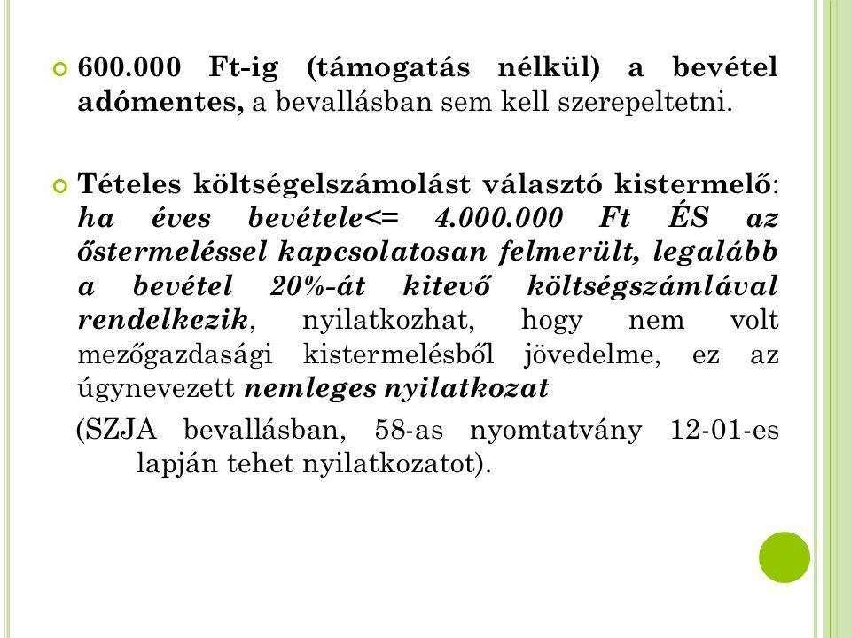 600.000 Ft-ig (támogatás nélkül) a bevétel adómentes, a bevallásban sem kell szerepeltetni. Tételes költségelszámolást választó kistermelő : ha éves b