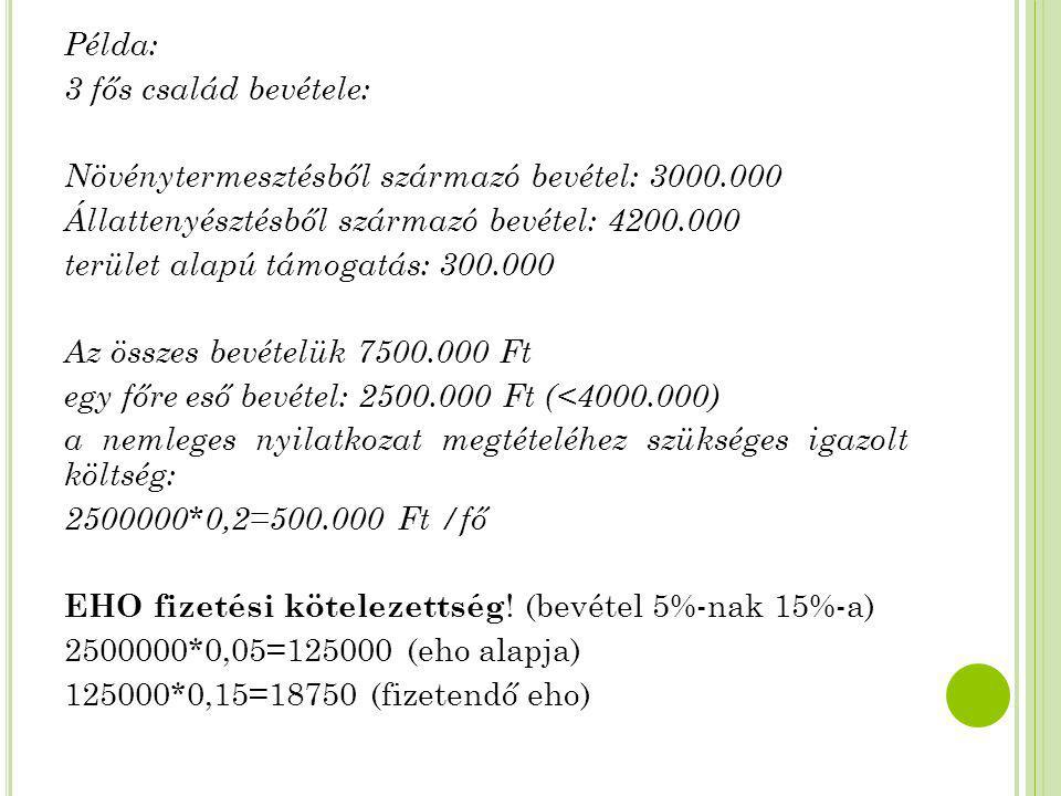 Példa: 3 fős család bevétele: Növénytermesztésből származó bevétel: 3000.000 Állattenyésztésből származó bevétel: 4200.000 terület alapú támogatás: 30