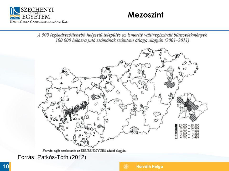 Horváth Helga Mezoszint 10 Forrás: Patkós-Tóth (2012)