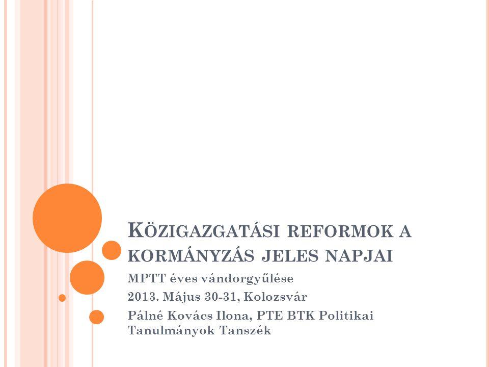 """T ÉMAVÁLASZTÁS A reformok egymásba érnek, nem """"jeles napok Az irány cikk-cakkos Az eredmények értékelése elmarad Minden reform megrázkódtatás a kormányzati rendszer ( s persze az érintettek) számára Értjük-e, mi, miért történik?"""