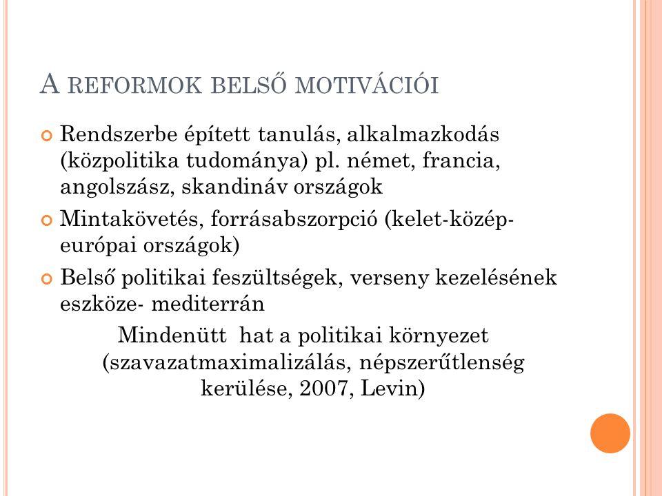 A REFORMOK BELSŐ MOTIVÁCIÓI Rendszerbe épített tanulás, alkalmazkodás (közpolitika tudománya) pl.