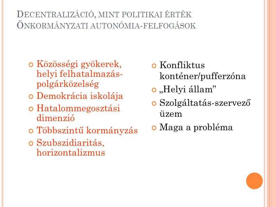 """D ECENTRALIZÁCIÓ, MINT POLITIKAI ÉRTÉK Ö NKORMÁNYZATI AUTONÓMIA - FELFOGÁSOK Közösségi gyökerek, helyi felhatalmazás- polgárközelség Demokrácia iskolája Hatalommegosztási dimenzió Többszintű kormányzás Szubszidiaritás, horizontalizmus Konfliktus konténer/pufferzóna """"Helyi állam Szolgáltatás-szervező üzem Maga a probléma"""