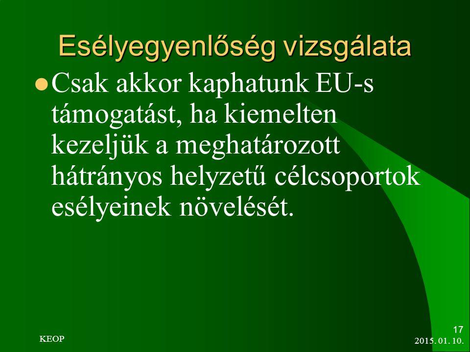 Esélyegyenlőség vizsgálata Csak akkor kaphatunk EU-s támogatást, ha kiemelten kezeljük a meghatározott hátrányos helyzetű célcsoportok esélyeinek növe