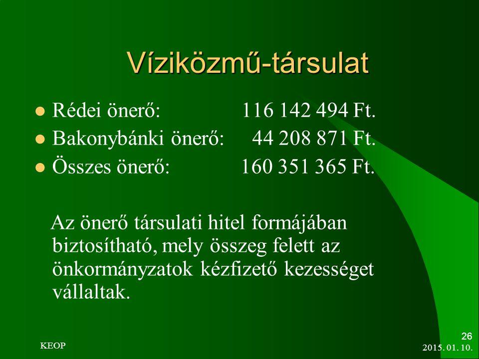 Víziközmű-társulat Rédei önerő: 116 142 494 Ft. Bakonybánki önerő: 44 208 871 Ft. Összes önerő: 160 351 365 Ft. Az önerő társulati hitel formájában bi