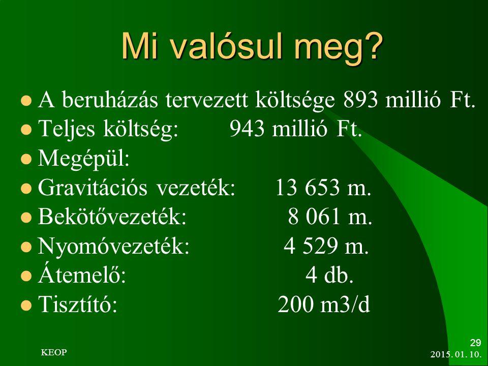 2015. 01. 10. 29 Mi valósul meg? A beruházás tervezett költsége 893 millió Ft. Teljes költség: 943 millió Ft. Megépül: Gravitációs vezeték: 13 653 m.