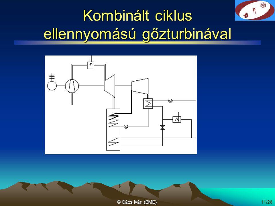 © Gács Iván (BME)11/26 Kombinált ciklus ellennyomású gőzturbinával