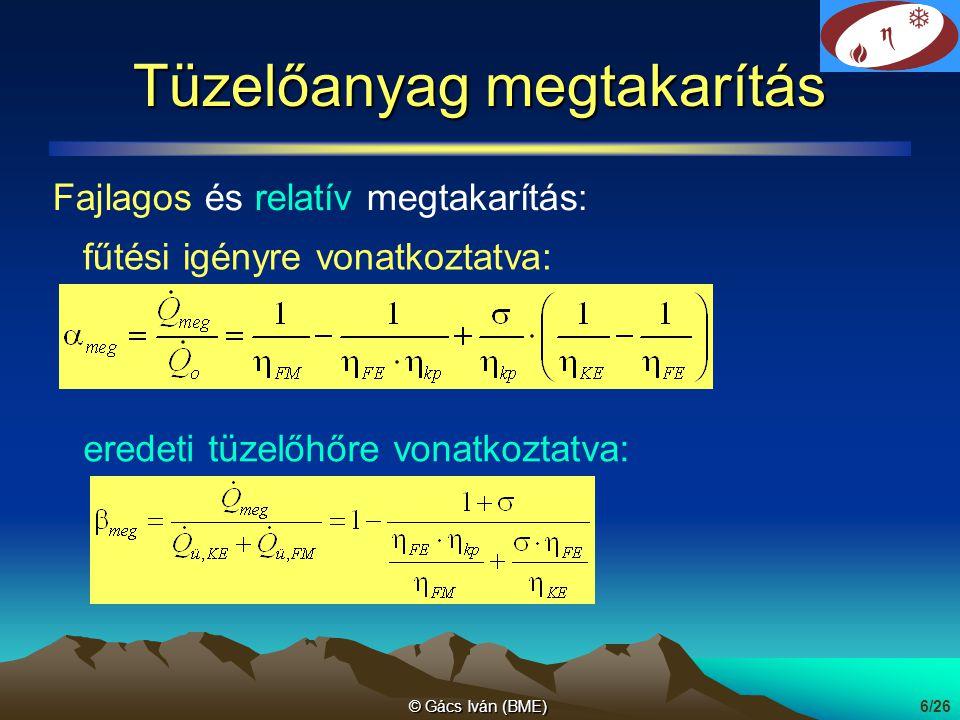 © Gács Iván (BME)7/26 Fajlagos tüzelőanyag megtakarítás gőzerőmű gázmotor gáz-gőzerőmű gőzerőmű helyett η KE =0.45 η KE =0.35 η KE =0.4 η KE =0.55 η KE =0.5