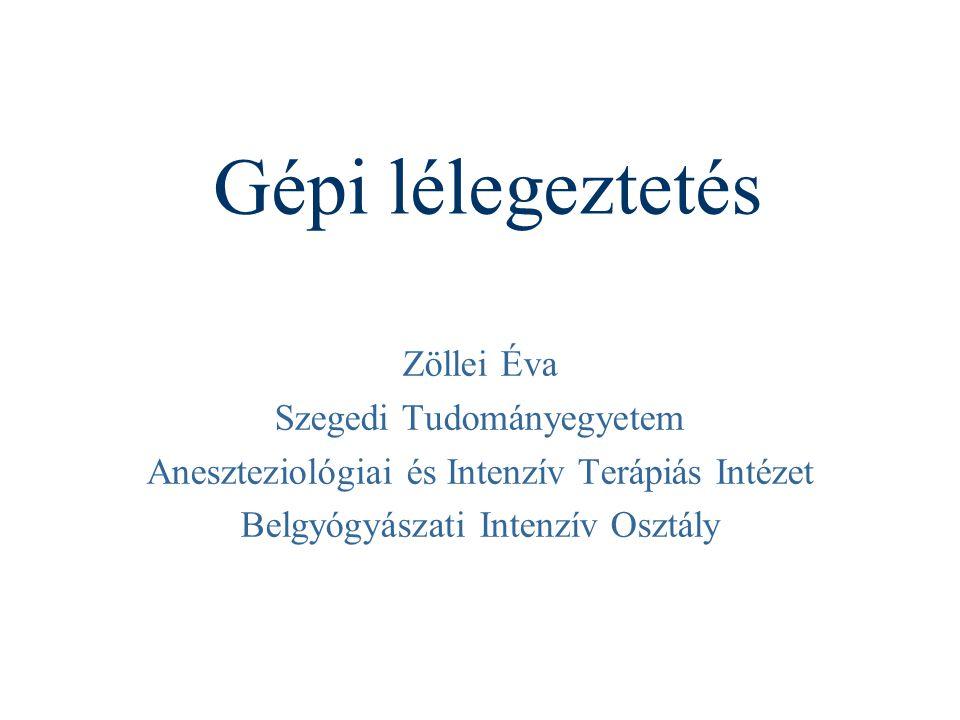 Gépi lélegeztetés Zöllei Éva Szegedi Tudományegyetem Aneszteziológiai és Intenzív Terápiás Intézet Belgyógyászati Intenzív Osztály