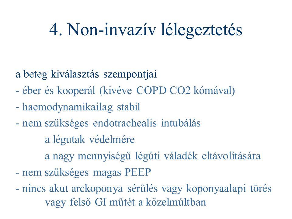 a beteg kiválasztás szempontjai - éber és kooperál (kivéve COPD CO2 kómával) - haemodynamikailag stabil - nem szükséges endotrachealis intubálás a lég