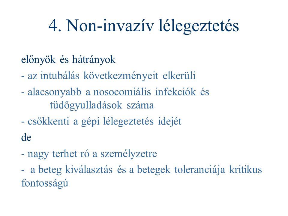 4. Non-invazív lélegeztetés előnyök és hátrányok - az intubálás következményeit elkerüli - alacsonyabb a nosocomiális infekciók és tüdőgyulladások szá
