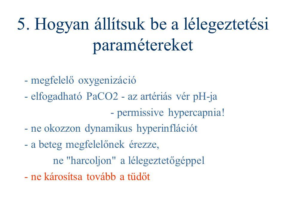 5. Hogyan állítsuk be a lélegeztetési paramétereket - megfelelő oxygenizáció - elfogadható PaCO2 - az artériás vér pH-ja - permissive hypercapnia! - n